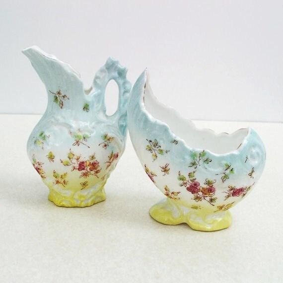Antique Porcelain Sugar Bowl Creamer Art Deco Porcelain Blue Yellow Pitcher Cream and Sugar Set Egg Shaped Tea Accessories