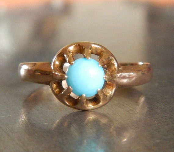 Antique Turquoise Engagement Ring Unique By AntiqueSparkle