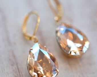 Bridal Earrings Champagne Earrings Gold Earrings Vintage Earrings Wedding Jewelry Bridal Jewelry Bridesmaid Earrings Bridesmaid Jewelry