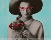 Pug Art, Mixed Media Collage, Retro Art, Mod Pug, Aqua Blue and Red, Fun Art, Colorful Collage Art