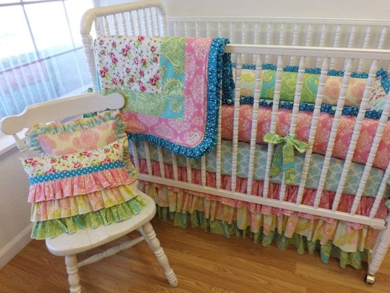 Items similar to MADE to ORDER--- Shabby Chic Crib Bedding ...