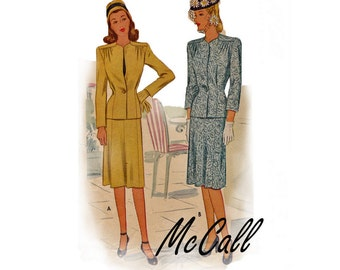 1945 Size 14 Misses Two-Piece Suit Vintage Sewing Pattern McCall 6038 jacket and skirt beautiful Fashion from WW2 wartime professional look