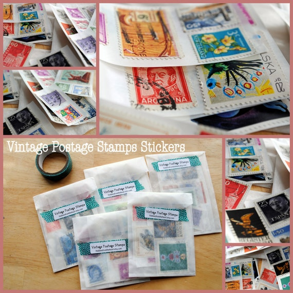 12 Vintage World Postage Stamp stickers/ seals