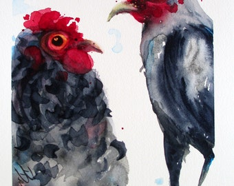 Chicken Art Print, Original Watercolor Painting, Rustic Country Farm Decor