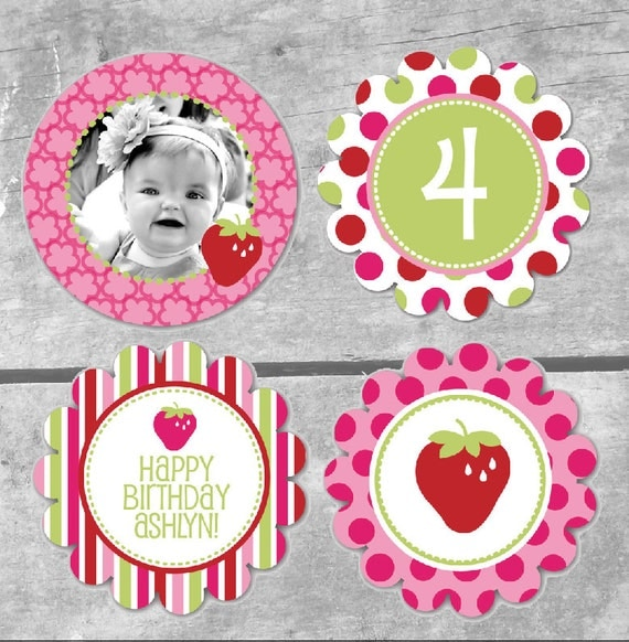 Strawberry Sweet Collection - Printable Party Circles by Itsy Belle