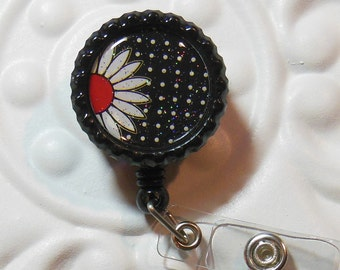 Retractable Badge Holder Bottlecap ID Badge Reel Teacher Lanyard  Black And Red Daisy