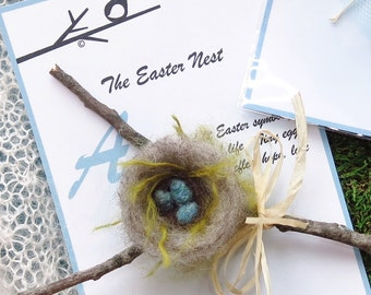 Easter Nest Legend / Bird Nest / Newlywed Ornament / Wedding Gift / Needle Felted Heirloom Keepsake Ornament / Bird Theme Wedding Favor
