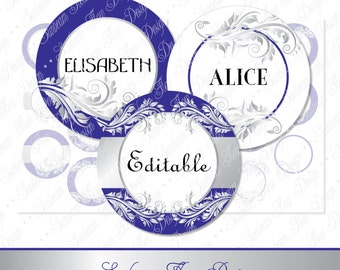 """INSTANT DOWNLOAD - Sale 20% Off 2.75"""" Circles Editable Jpg 93 Silver Blue Ornaments Bottle cap Hairbow Embellishment Print Your Own DIY"""