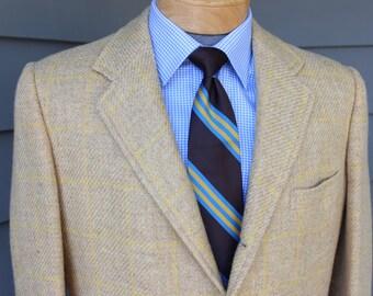 vintage 1960's -Balmerino- Men's Tweed sport coat. 3 / 2 roll - Sack. Yellow window pane. 40 - 41 Long