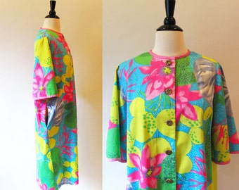 Vintage 60s Cotton Robe, Flower Power Vintage House coat