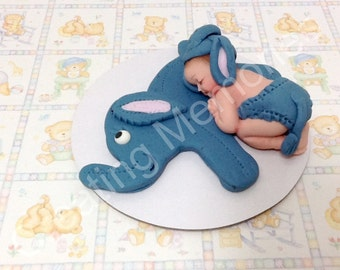 Fondant Baby with BLUE Elephant Cake Topper/BABY SHOWER Cake Decoration/Edible Cake Topper