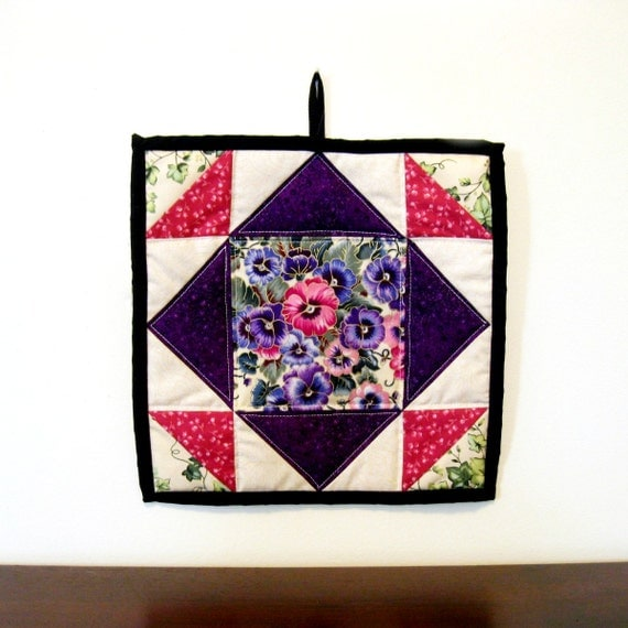 RESERVED - Handmade Hot Pad - Quilted Pot Holder - Hostess Gift - Home Decor - Quilted Hotpad - Quilt Block - Gift For Her