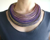 Shades of Purple and Natural Statement Necklace