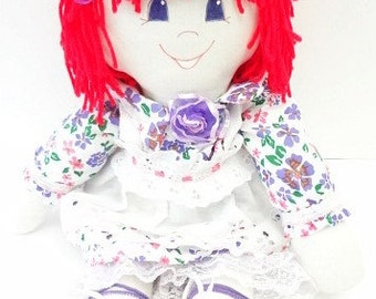 straight hot red hair, blue eyes, purple, cloth rag doll, hand made rag dolls, rag doll handmade, ragdoll NF107