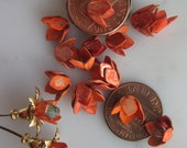 20 Lobster Red Distressed  Shabby Chic  Metal  Flowers