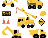 Clip Art Set - Construction Trucks - Yellow, Black and Orange - 9 Print Ready Files - JPG and PNG Format - ID 222