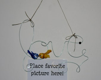 Lovebirds Hanging Wire Photo Holder, Picture Frame, Couple Gift, Wire Art, Wall Hanging, 4x6, Love Birds Decoration, Wedding Frame
