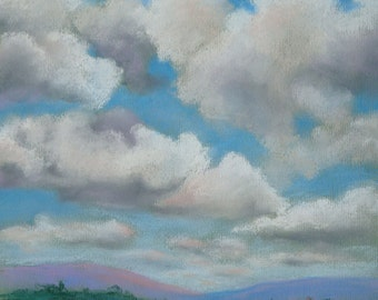 Clouds Pastel Framed Print, NorCal, Landscape, Mountains, Home Decor, Home and Living,