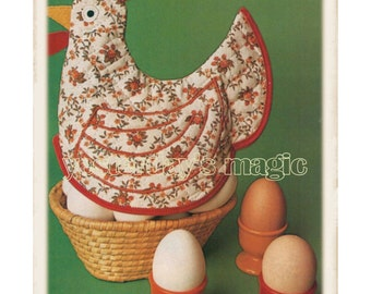Instant Download PDF Easy Beginners Full Size SEWING PATTERN to make a Chicken Hen Quilted Egg Bread Basket Cover Teapot Cosy Door Stop