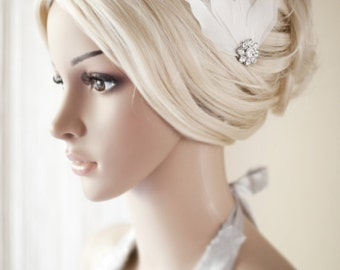 Wedding hair accessories, Bridal White Feather Rhinestone Jewel Head Piece, Hair Comb Fascinator Accessory - Maggie