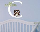 Boy Name Owl Wall Decal Baby Nursery Wall Sticker Decor Personalized