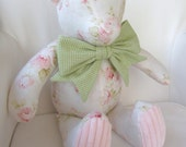 MADE TO ORDER Ashley - Pink Shabby Chic Rose and Chenille Teddy Bear with Green Gingham Bow