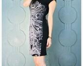 Filigree Art Nouveau MINI Dress by Carousel Ink - T Dress Black Grey Cap Sleeve Dress  Cap sleeve pencil skirt Dress