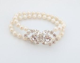 Wedding pearl bracelet, rhinestone teardrop clasp, bridal jewelry, sparkle, freshwater pearls, double strand, cream white: Simply Adorned