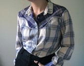 vintage levi's blue plaid cowboy western hipster button up shirt