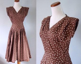 vintage mid century brown white polka dot 1950's day dress