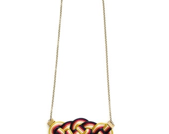 Knot necklace, multicolor necklace, fiber necklace, statement necklace, nautical necklace, knotted necklace, macrame necklace, spring trends