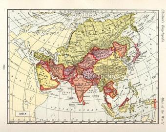 Antique 1950s ASIA Vintage Map atlas page