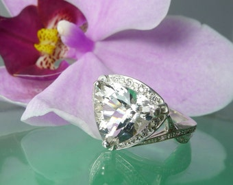 Trillion Ring, Trillion Sterling Silver, Herkimer Diamond Natural Gemstone, Halo Trillion Ring