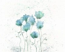 Blue Fields of Love, botanical print, watercolor botanical, watercolor flowers, cottage chic, floral watercolor