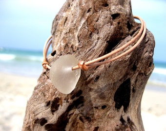Hawaiian Clear Beach Glass on India Leather Cord Completely Adjustable & Stackable Bracelet