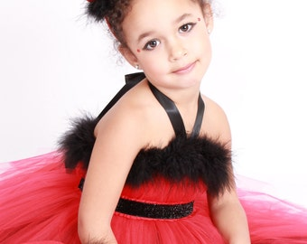 READY TO SHIP: Devil Darling - Devil Horns Headband - Red & Black - Halloween Costume Accessory - Fits toddler to adult