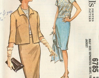 PATTERN McCalls 6785 Jacket with shell top and slim skirt Size 12 Vintage uncut