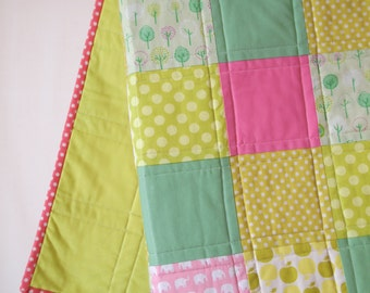 Baby Quilt--Modern Pink and Green