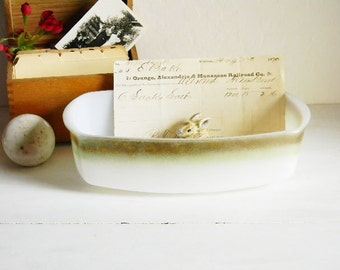 Milk Glass Federal Baking Casserole Loaf Dish Iridescent Ombre Serving Modern Mid Century Madmen Retro Space-Age Meatloaf