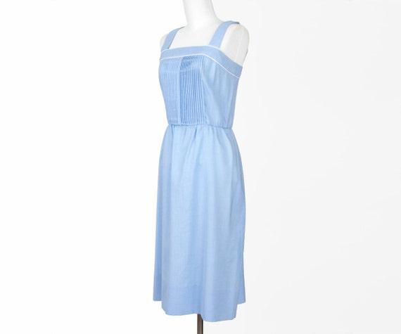 60s Summer Dress Vintage Dress Blue Linen Pleated Sundress Medium