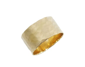 Hammered wedding band. Gold wide wedding band. 14K yellow gold wedding band. Wide hammered wedding band. 11mm wedding band. 263