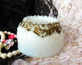 Cut Milk Glass Cosmetics Jar, Victorian Boudoir Jar, Antique Milk Glass Dresser Jar
