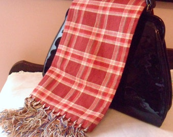 Red Plaid Neck Scarf, Handmade Scarf with Hand Knotted Fringe, Wool Blend Red Winter Scarf