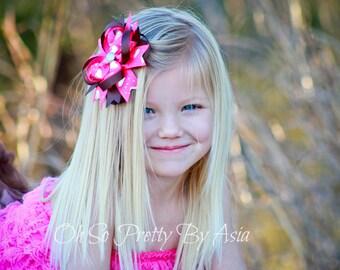 Pink Brown Hair Bow - Hair Bows - Pink Hair Bow - Brown Hair Bow - Heart Hair Bow - Pink and Brown - Valentiens Day Hair Bows