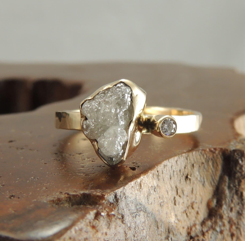 Rough Diamond Rings: Large Rough Diamond 14k Gold Ring Handmade Engagement Ring