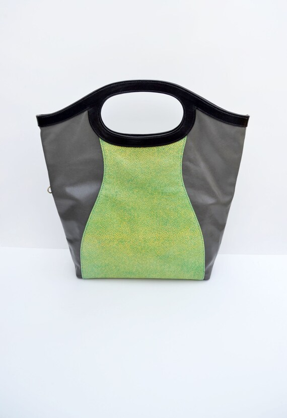 Convertible  Tote, Modern Crossbody, Large Green and Grey Leather Bag, Convertible Crossbody Handbag, Made in USA