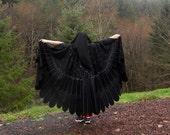 Raven Crow Blackbird Owl Wings Custom Bird Cloak OOAK Painted