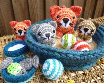 Basket of Kitties,Cat and Kitten Dolls with Accessories - Amigurumi Crochet Pattern