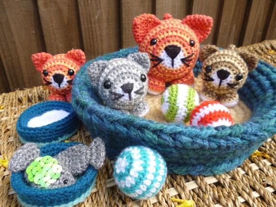 Crochet Amigurumi Accessories : Basket of Kitties Amigurumi Crochet Pattern Cat and Kitten