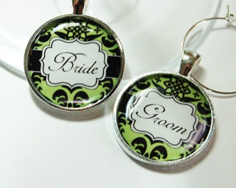 Wedding Wine Charms, Bride Groom Wine Charms, Wedding Shower, Bridal Shower, sage green, black, Wine Charms, barware, table setting (2610)